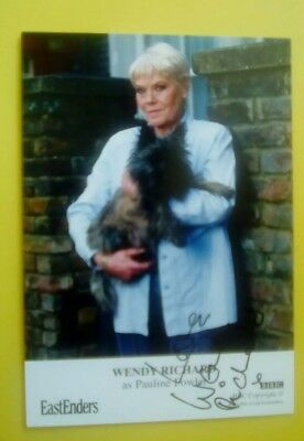 EastEnders Wendy Richard autograph hand signed photo Cast Card Pauline Fowler
