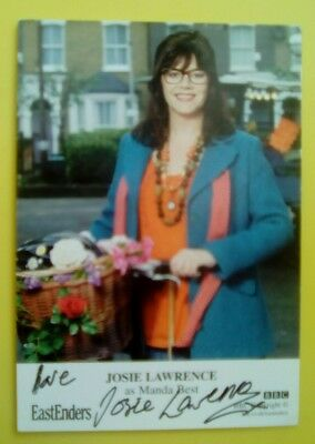 EastEnders Josie Lawrence autograph hand signed photo Cast Card Manda Best