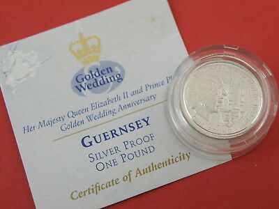 GUERNSEY 1997 SILVER PROOF ONE POUND £1 COIN c/w ROYAL MINT CERTIFICATE