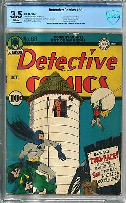Detective Comics 68 - CBCS 3.5 Not CGC - White Pages - First Two Face Cover