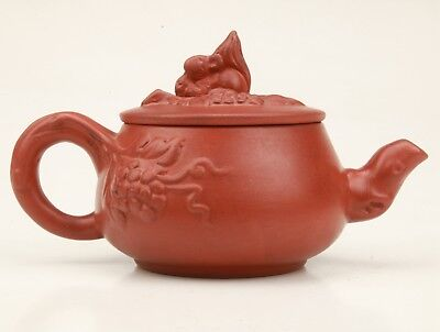 Authentic Chinese Yixing Red Clay Teapot Kettle Embossed Grape Collection