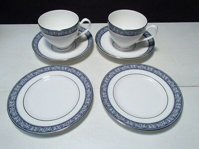 6 Piece Waterford Westport Snack Set ~ 2 Each,  Cup, Saucer, Sml Plate