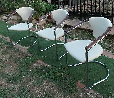 Vintage Mid Century set of 3 chair Gastone Rinaldi Italian Chrome, Mahogany 1970