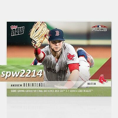 2018 Topps Now Andrew Benintendi #908 Game-Saving Catch Red Sox Lead ALCS