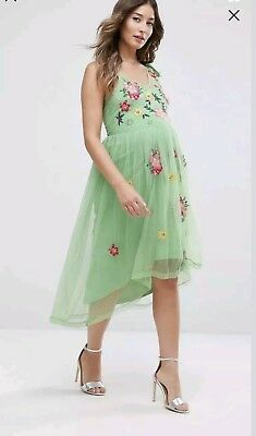 Asos Beautiful Embroidered Maternity Dress-Size 12