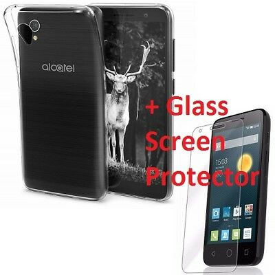 New Thin Clear Transparent Gel Case Cover & Glass Protector For Alcatel 1 5033X
