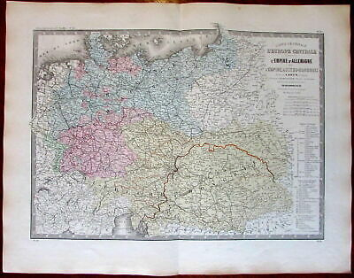 Europe Germany Prussia Poland Austria Hungary 1875 Brue large old engraved map