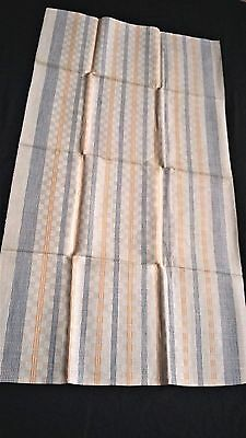 old linen kitchen Runner Towel with blue and yellow  stripes + checkered pattern