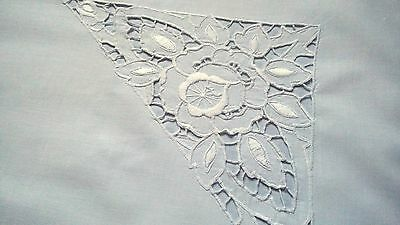 antique german pillow case with Cutwork Richelieu hand embroidered