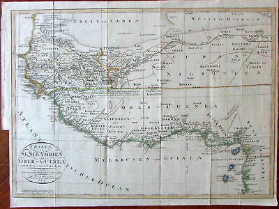 West Africa scarce detailed German 1809 large Weimar map old hand color Guinea
