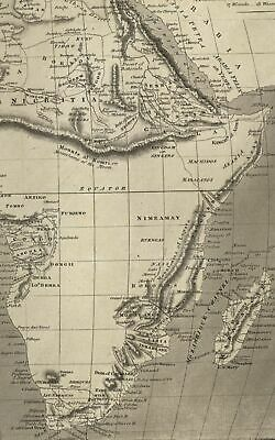 Africa map c.1810 Harrison engraved map vast Mts. of Moon myth shown entire