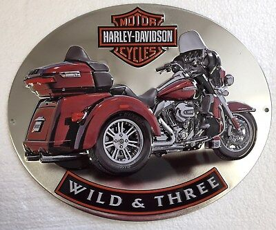Ande Rooney HARLEY DAVIDSON WILD & THREE Tin H-D Garage Trike Motorcycle Sign