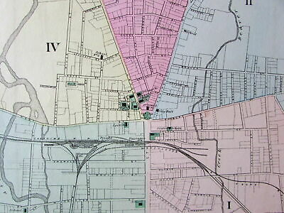Keene New Hampshire city plan Cheshire County c.1871 old hand colored map