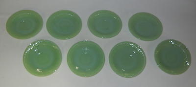 Set of 8 Fire King Jadeite Jane Ray Saucers Plates 5 3/4""