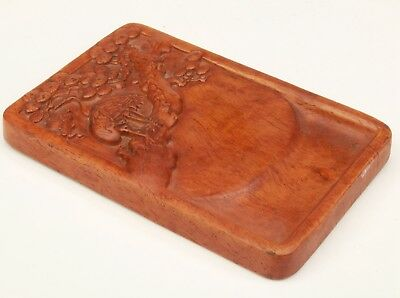 Precious Chinese Hardwood Board Painting Old Hand Carved Crane Tree Mascot Old