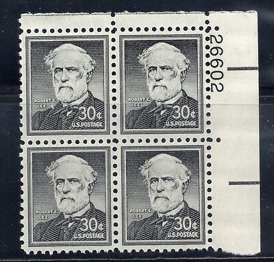 Confederate General ** Robert E Lee **us Postage Stamp Pl Blk Of 4 Mint