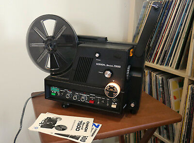 Chinon 7500 Super 8 Sound Movie Projector w/ box, manual, reel