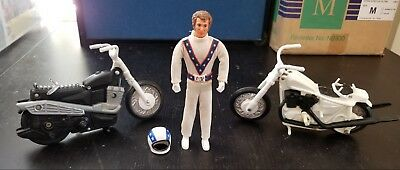 Vintage 1970s Evel Knievel Lot of 3 with Evel Figure & 2 Different Motorcycles