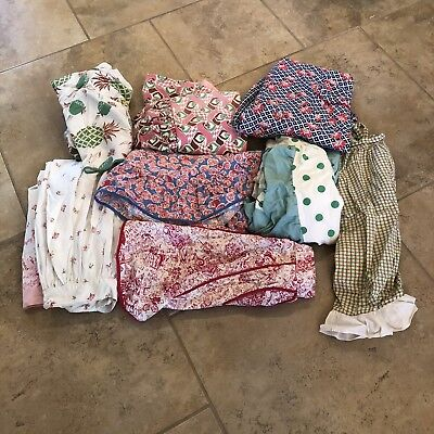 Vintage Lot of 8 Feed Sack Aprons And Bonnets