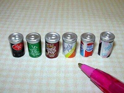 Miniature Cans of Soda Pop, Variety, Set of 6: DOLLHOUSE Miniatures 1:12 Scale