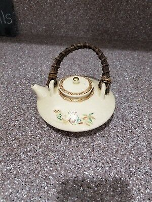 Beautiful Old Japanese Small Low Satsuma Handpainted Enameled Teapot