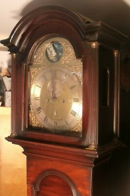 "Antique Mahogany "" Grimsby ""  Brass Rocking Ship   Longcase / Grandfather Clock"