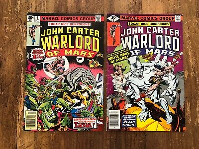 John Carter Warlord of Mars #1 & #2 1977 - Gil Kane Dave Cockrum KEY 1st ISSUE