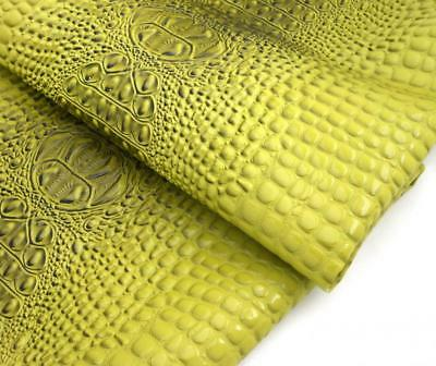 """Vinyl Crocodile Fabric GREEN Fake Leather PVC  Upholstery SOLD BY YARD 54"""" USA"""