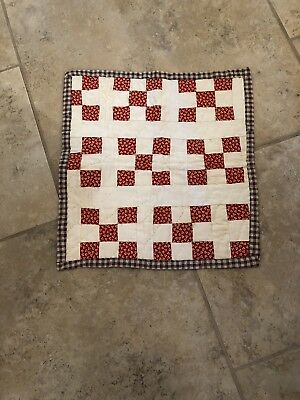 "Antique Doll Quilt 14""X 15"" 1880s"