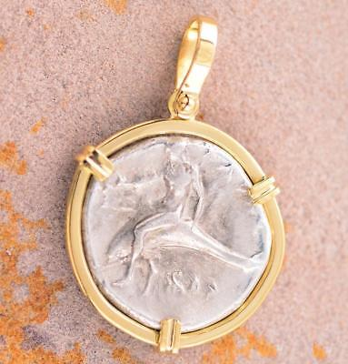 Ancient Greek Boy on Dolphin Coin in Solid 18kt Gold Pendant 280 B.C.