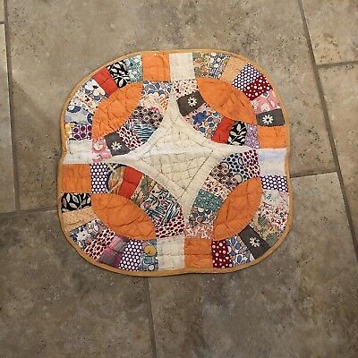 "Antique Doll Quilt Pillow Sham 14""X 14"" 1930s"