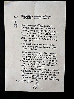 ALEX TOTH Hand Written Page Personal Letter to Darrel McNeil w/Sketch Nov 8 1994