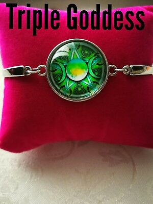 Code 448 Triple Goddess Maiden Mother Crone pentagram pentacle infused bracelet