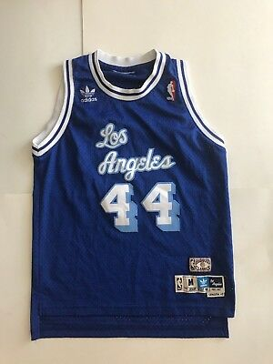 Jerry West NBA LA Lakers  44 Jersey Size 42 Hardwood Classics Adidas Length  +2 797a44e71