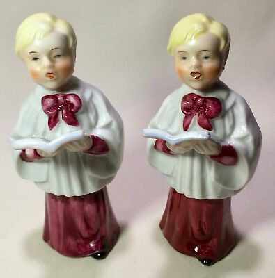 "2 Vintage Blond Choir Boy Christmas Figurines Made In Japan Sweet Faces 5"" Tall"