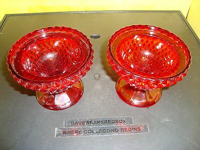 """Vintage QTY 2 Etched Ruby Red 3"""" Tall Bowl Cup 3 3/4"""" Round Ex Condition Antique"""