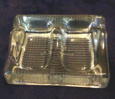 VINTAGE 1950's Glass Double INKWELL & Quill Rest,Made ENGLAND,no damage