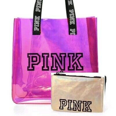 6d3b69d0d8412 VICTORIAS SECRET PINK IRIDESCENT TOTE AND POUCH SET TRAVEL BEACH BAG New!
