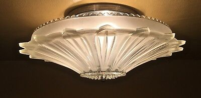 Vintage Lighting antique pair 1930s Art Deco ceiling hugger newly wired Restored