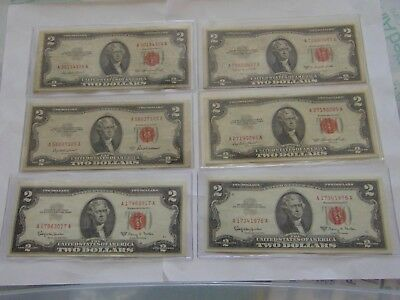 Great Lot Of 6 1953 To 1963 $2 Red Seal Notes !!look!! Au/cu Crisp Currency
