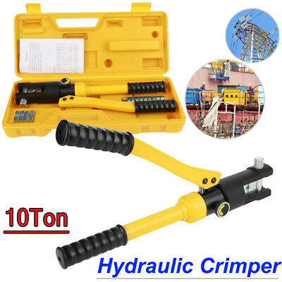 10 Ton Hydraulic Crimper Crimping Tool Wire Battery Cable Lug Terminal + 14 Dies