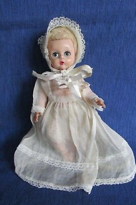 1956-1962  Madame Alexander Little Genius Doll dressed in Christening Gown RARE