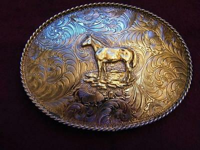 Western Cowboy Belt Buckle Silver Plated Gold Standing Horse Cortes Mexico
