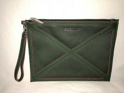 "KLM Airlines Jantaminiau Green Top Zip Slim Accessory Pouch Wristlet 9.25""x7"""