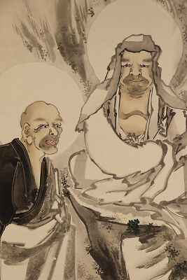 "JAPANESE HANGING SCROLL ART Painting ""Arhat"" Buddhism Asian antique  #E4382"
