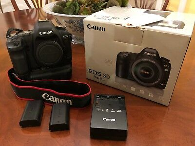 Canon EOS 5D Mark II 21.1MP Digital SLR Camera with Battery Grip & 2 batteries