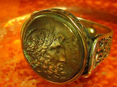 Aunthentic Ancient Greek Bronze coin of Zeus 300BC Mens Ring!