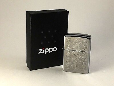 BRAND-NEW Zippo Swirled Circles High Polish Chrome Lighter In Box, # 28657