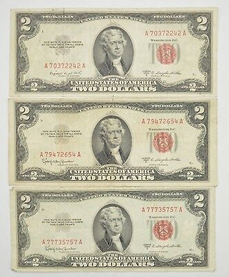 Lot (3) Red Seal $2.00 US 1953 or 1963 Notes - Currency Collection *271