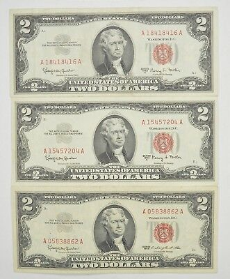 Lot (3) Red Seal $2.00 US 1953 or 1963 Notes - Currency Collection *273